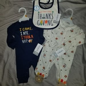 NWT Carter's Thanksgiving Outfits and Bib!